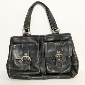 Coach Oversized Smooth Black Leather Tote Bag